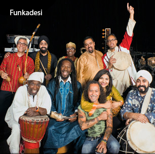 Funkadesi blends Indian music — bhangra, Bollywood, Indian folk — with reggae, funk, and Afro-Caribbean grooves. The band hails from Chicago, proudly representing the diverse multi-ethnic communities within the city.